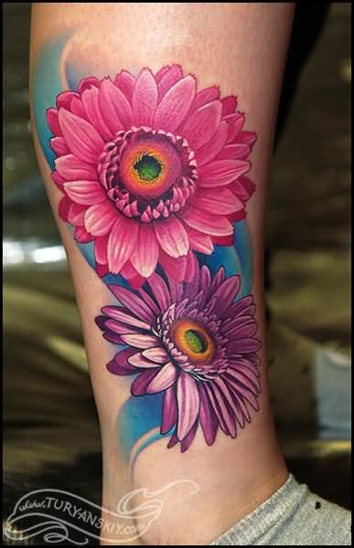Gerbera Tattoo On Leg