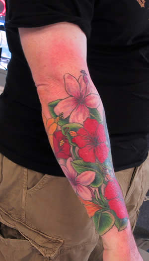 Half-Sleeve Hibiscus Tattoos