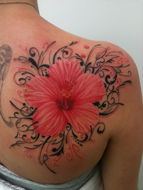 Hibiscus large flower tattoo on back for Back tattoo flower designs