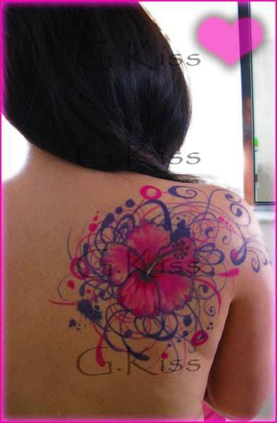 Flower Back Shoulder Tattoo