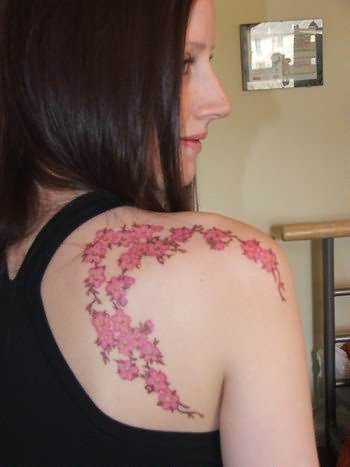 Women Upper Back Tattoo With Cherry Blossom Japanese Tattoo