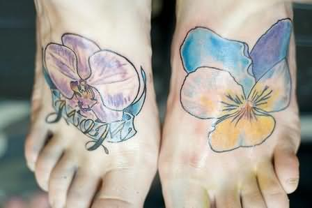 Awesome Orchid Flower Tattoo On Foot