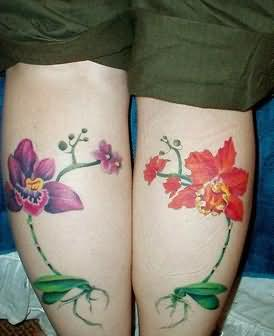 Colorful Orchid Flowers Tattoo