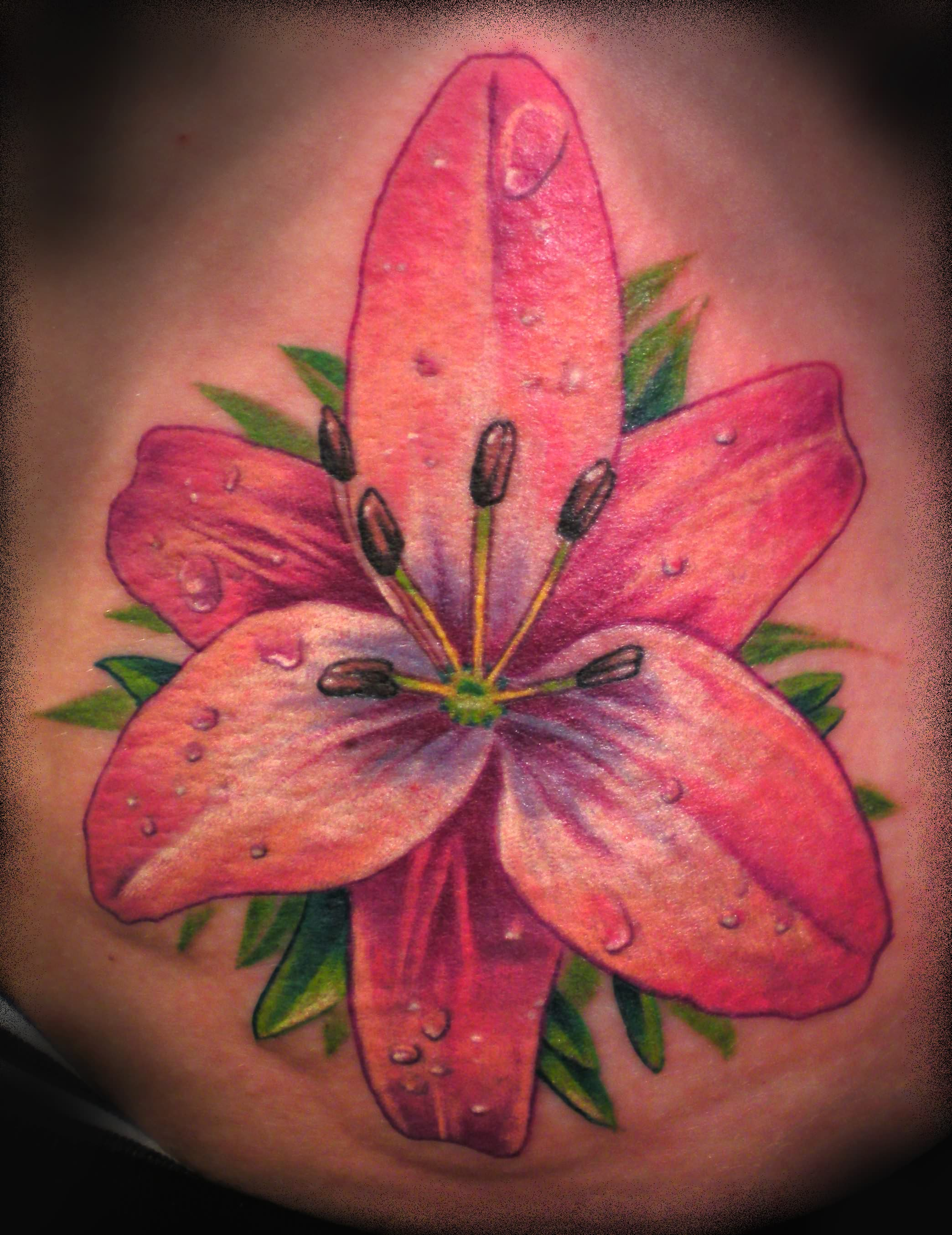 Lily Flower Tattoo With Some Dew Drops