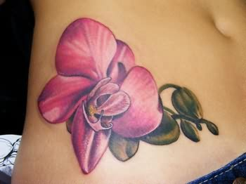 Orchid Flowers Tattoo On Hip
