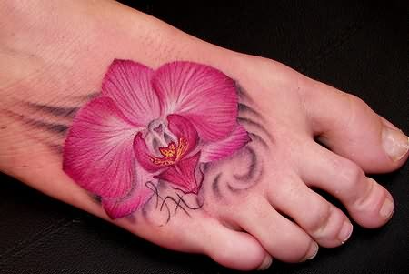 Orchid Tattoo On Foot