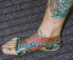Car Tattoo On Foot