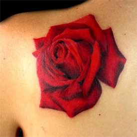 Big Red Rose Tattoo On Back