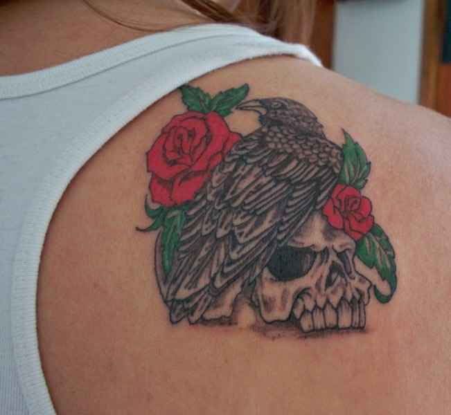 Bird and rose tattoo on back shoulder for Rose tattoo on back shoulder