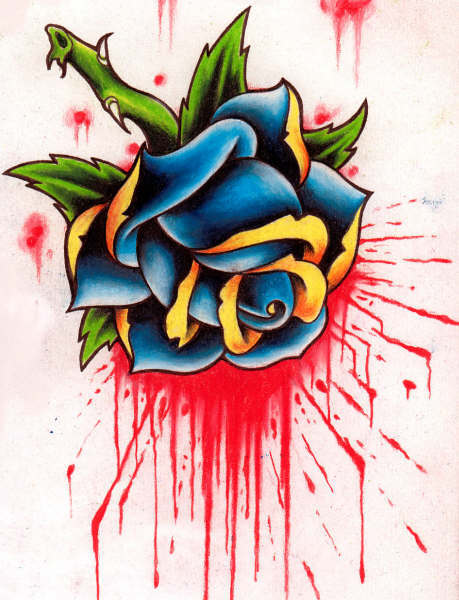 tattoo Gothic bleeding rose