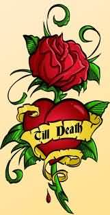 Heart With Banner And Rose Tattoo