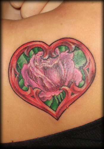 Heart rose tattoo for Rose heart tattoo