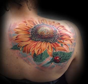 Large Sunflower Tattoo On Upper Shoulder
