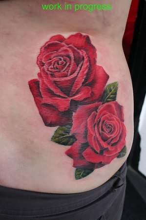 realistic roses tattoos on waist. Black Bedroom Furniture Sets. Home Design Ideas