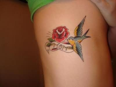 Rose And Bird Tattoo