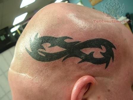 Lovely Infinity Tattoo On Head