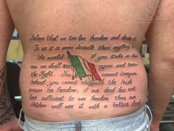 Irish Freedom Tattoo