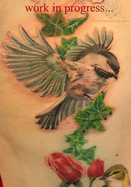 Ivy Flowers And Bird Tattoo