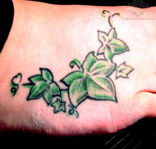 Ivy Leaf Tattoo On Foot