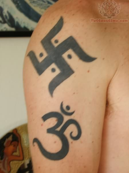 Jain Tattoo on Back Shoulder