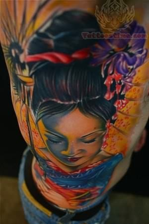 Colorful Geisha Tattoo