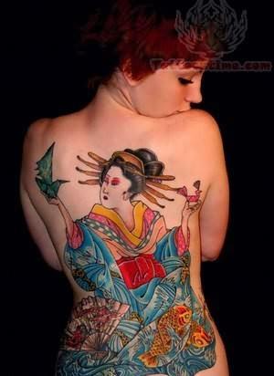 Girl Showing Her Elegant Geisha Tattoo