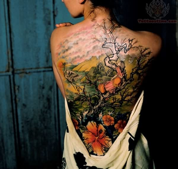 Cherry Blossom Tree Tattoo Designs for Women