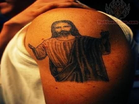 Beautiful Jesus Tattoo On Shoulder For Men