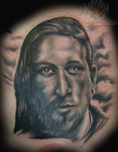 Black and white jesus tattoo for Tattoos of black jesus