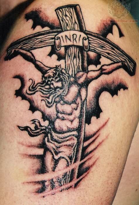 jesus christ tattoo for shoulder. Black Bedroom Furniture Sets. Home Design Ideas