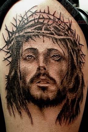Jesus Christ Tattoo On Shoulder