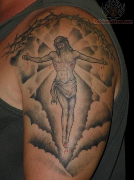 Jesus in clouds tattoo on shoulder for Cross tattoos with clouds