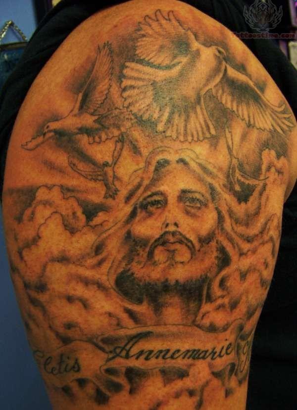 Jesus Tattoo On Man Shoulder