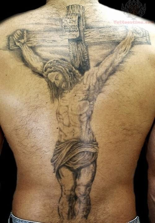 Large Jesus And Cross Tattoo