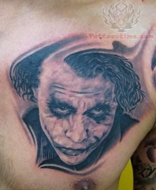 Joker Head Tattoo On Chest