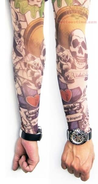 Joker Skull Tattoo On Arms