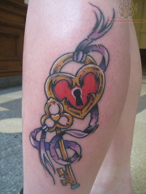 Color Lock And Key Tattoo