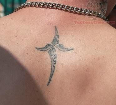 Knife Tattoo On Back