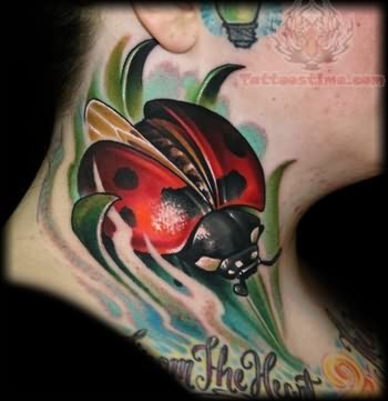 Ladybug Neck Tattoo