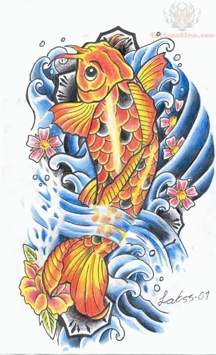 Ink mark koi tattoo flash for Japanese koi fish artwork