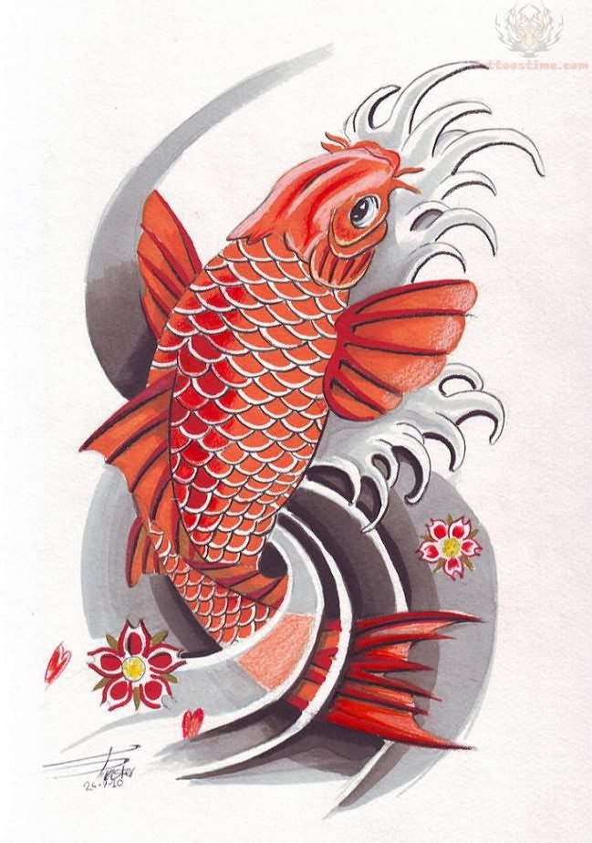 Colorful koi fish tattoo design for Koi fish tattoo designs