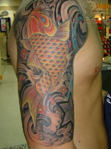 Japanese Koi Fish Arm Tattoo