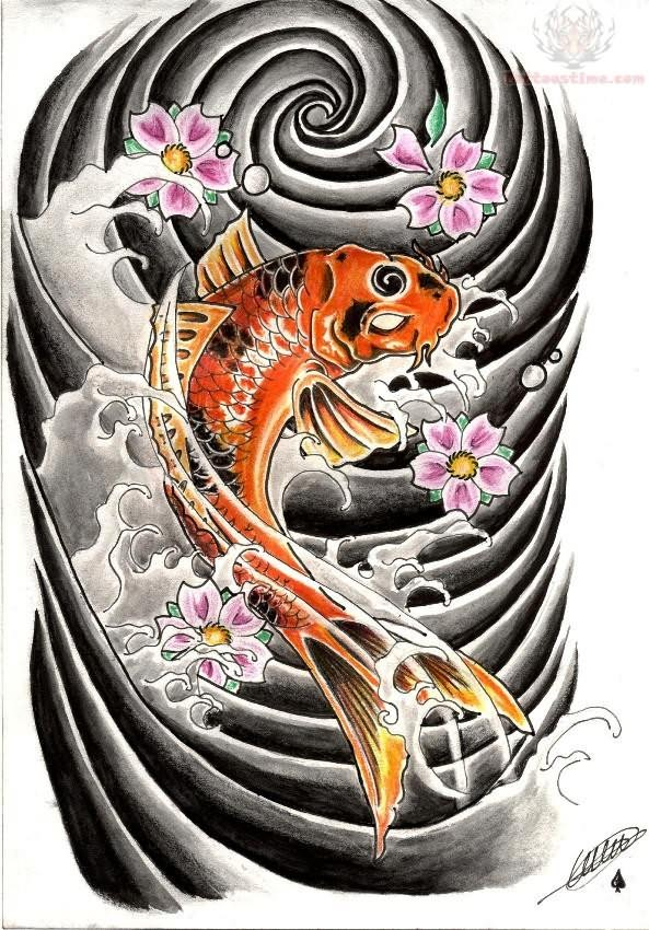 Koi Fish And Flowers Tattoos