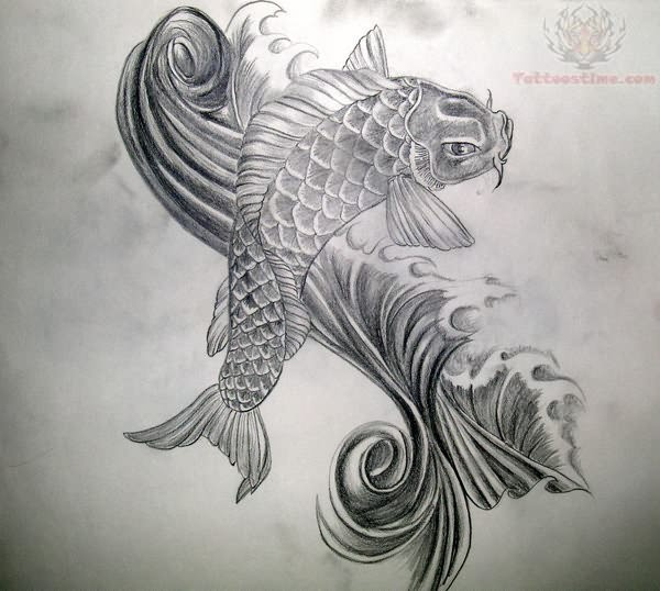 Koi fish tattoo black and white drawings for Black and white koi fish