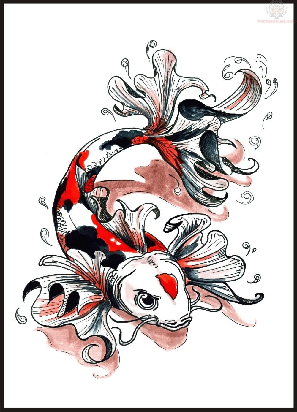 Koi fish colour tattoo for Koi fish design