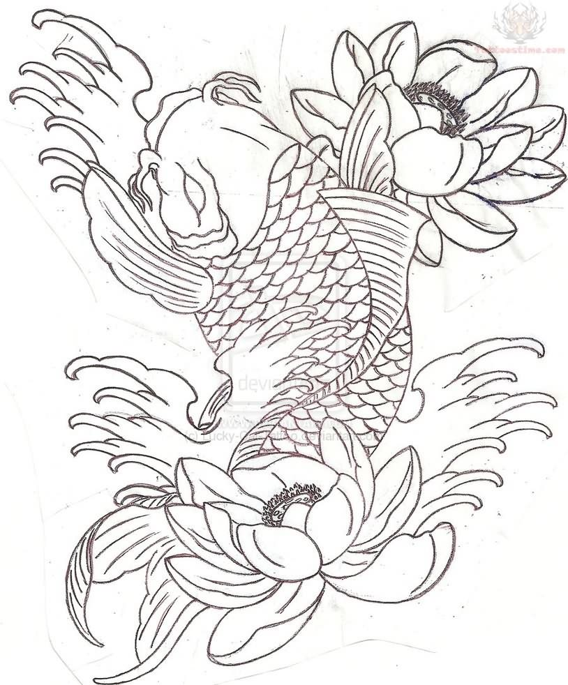 Koi Fish Half Sleeve Tattoo Stencils