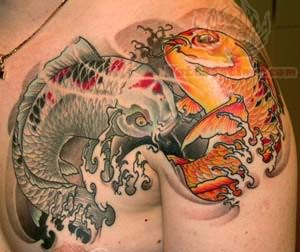 Koi Fish Tattoo On Men Shoulder
