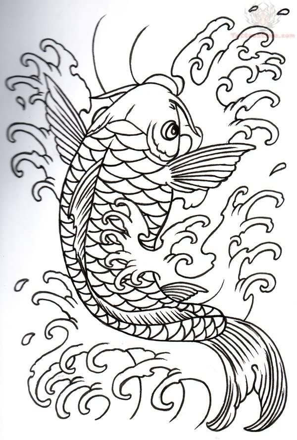 Koi outline tattoo design for Koi fish design