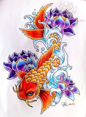 Lotus & Koi Tattoo Design