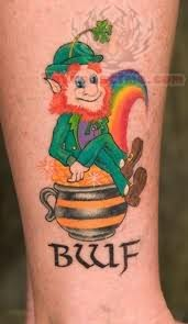 Leprechaun Sitting On Pot Tattoo